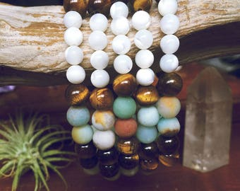 Boho Bracelet Beaded with Healing Crystals of Tigers Eye and Amazonite