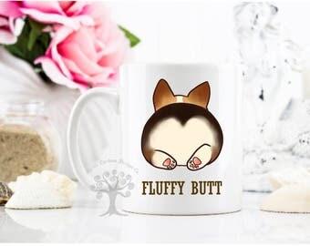 Fluffy Corgi Butt Mug - Corgi Mug -Funny Corgi Mug - Corgi -Corgi Gift -Corgi Lovers Gift-Dog Mug-Funny Dog Mug- Tri Color Corgi Mug