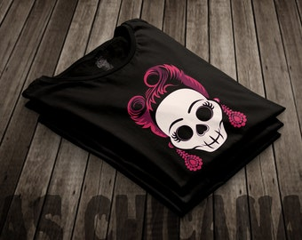 Las Chicanas tee fair trade garment Rockabilly hipster sugar skull rock and roll Betty page