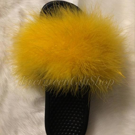 nike fur slides yellow custom nike flip flops nike fur sandals