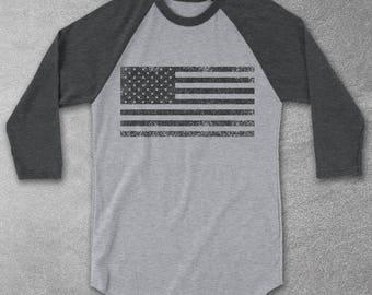 American Flag Shirt - Vintage Graphic Tee - Baseball Tees - Raglan Shirts - USA grunge flag - Graphic Tees for Women & Men