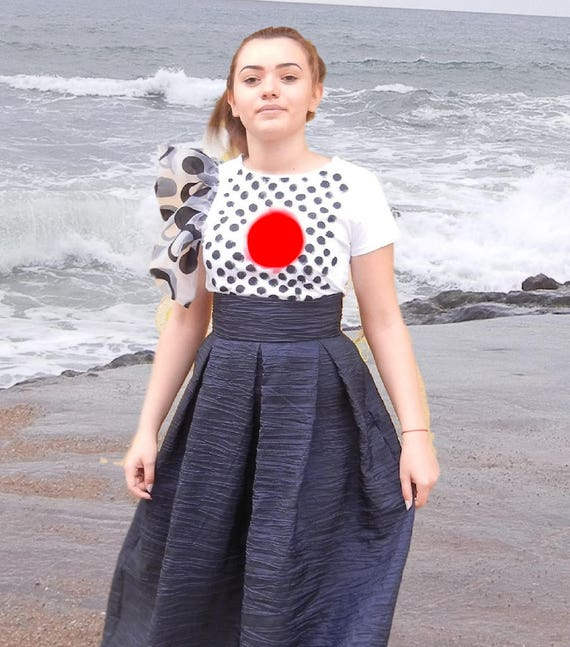 Hand Painted White Top, Asymmetric Tulle Sleeve Dots Painted Blouse, Party Summer Cotton Top, Elegant T-shirt, Clubwear