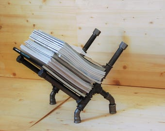 Magazine rack, magazine, industrial style cast iron part