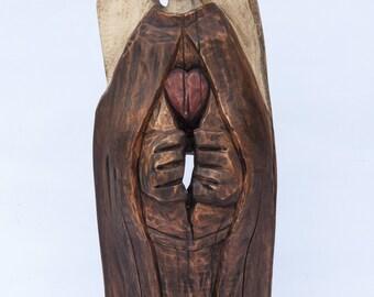 The Angel Wooden Statue Hand Made Sculpture