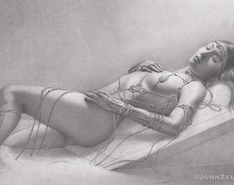"Original art, ""Oracle""  Graphite Pencil on paper, One of a Kind Fantasy art"