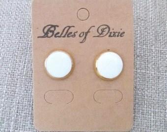 White & Goldplate Stud Earrings ~ White Post Earrings ~ Bridesmaid Jewelry Earrings ~  Bridal Party Jewelry