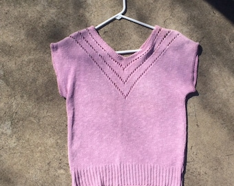 1980's Pink Knit Sweater Top