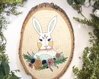 Rabbit / Hare / Bunny / Floral / Woodland Animal / Wood Slice / Illustration / Home Decor / Boho / Rustic / Nursery