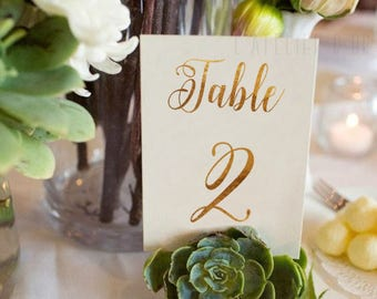 Wedding Table Numbers - Gold Foil Table Numbers - Gold Table Cards - Elegant Decor - Wedding stationery - Table Name -Reception Table Number