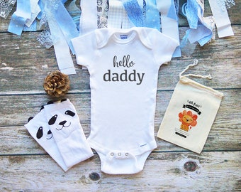 Hello Daddy Onesies® Shirt - Cute Daddy's Little Girl Onesies - Cute Baby Shirts - Baby Shower Gifts - Father's Day Onesie - M303