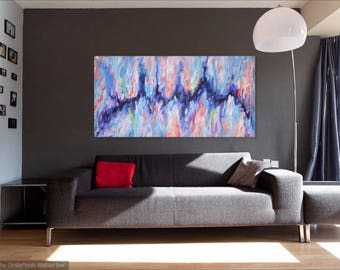 Large Abstract Acrylic Painting, Blue Original Artwork , Impasto Modern Contemporary Art Ready to hang, Abstract Wall Art Canvas Made2Order