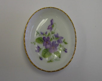 Hand Painted Porcelain dish, with Violet design