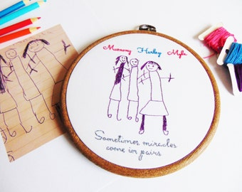 Your Childs Drawing Hand Stitched Hoop Personalised Gift / Grandparent Gift, Kids Artwork, Gift For Mummy, Daddy Gift, Gifts From Children