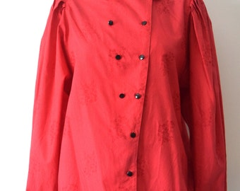 80s Vintage Red Shirt Buttoned down / Volumed Batwing Sleeves / Woman / Large