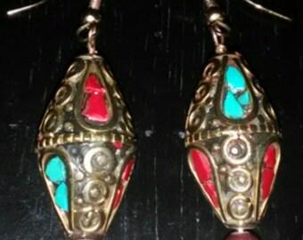 Tibetan Turquoise & Coral Pierced Earrings w Pearl, Handmade, Gold filed Hooks Dangle Earrings