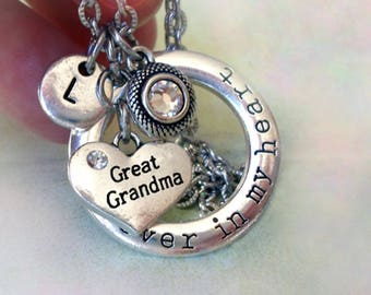 Great Grandma Necklace, Forever in My Heart Personalized w-Letter Charm & Swarovski Birthstone Crystal, Great Grandma Gift