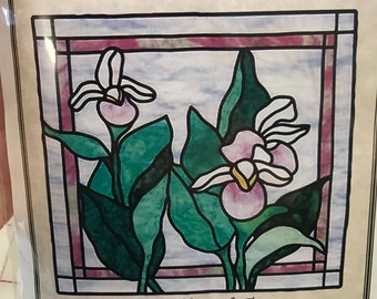 """Quilt pattern """"Stained Glass Lady Slipper"""" wall hanging 23"""" x 24.5"""""""