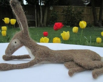Needle Felted Laying Down Hare -  READY TO SHIP