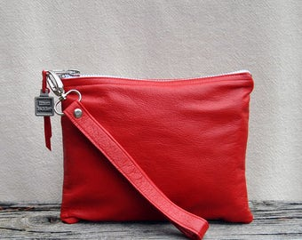 Reworked Red Leather Clutch/Wristlet