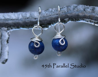 Sterling Silver Lapis Earrings, Blue Earrings, Silver Earrings, Sterling Silver Wire Wrapped Earrings, Lapis Lazuli Earrings