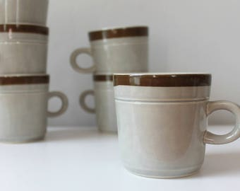 Vintage Stoneware Mugs, Set of 6, Alhambra Japan