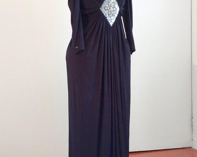 Black evening dress, vintage formal dress, full length black evening gown, black tie event, prom dress, EU size 42