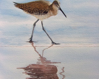 Sandpiper painting original watercolor sea bird painting with reflection beach house art 9x10