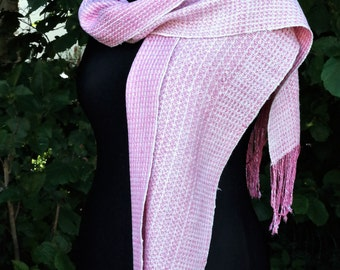 handwoven scarf out of Ahimsa-silk, rose-white