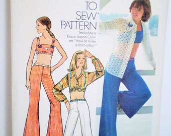 Retro Simplicity 5512 Midriff Top & Bell Bottom Hip Hugger Pants Size 10 - vintage, crop top, blouse,dolman sleeves, how-to-sew,Summer style