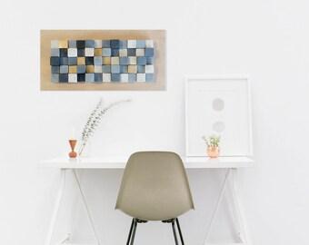Rustic wood wall art, reclaimed wood wall sculpture, wood wall decor, wooden mosaic, modern wood art wall hanging, grays and golden wood art