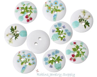 50 pcs - Wood Buttons - Floral Buttons - Craft Buttons - Flower Buttons - Wooden Buttons - Mixed Buttons - Buttons - Sew on Buttons - F0093