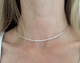 Hammered Sterling Silver Choker Necklace, Sterling Silver Choker, Silver Cuff Necklace, Textured Silver Bar Necklace, Unusual Necklace