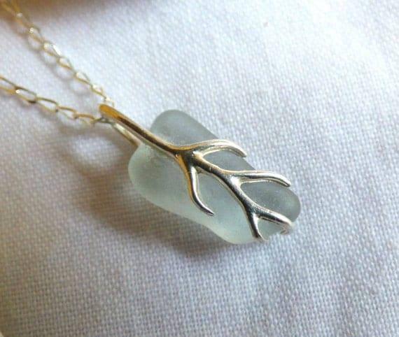 Grey Sea Glass, Sea Glass Pendant, Sea Glass Necklace, Silver Vine, Sterling Silver, Silver and Glass, Glass Jewelry, Sea Glass - PE16024