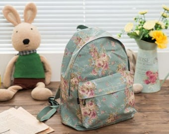 Floral Round Backpack 1 - Wild Flower (Mint, Khaki, Blue, Pink) - girls pretty student bag for school