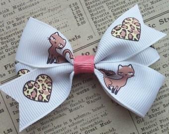 Leopard Kitty Hair Bow, girls hair bows, party favors, hair accessories, cute hair