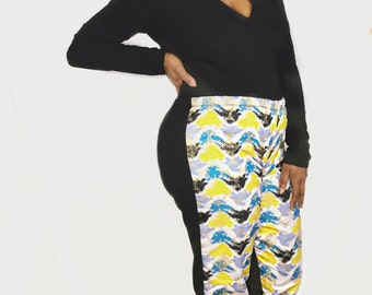 Blue, White, Yellow & Gold African Print Tights/ African Print Leggings