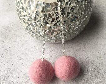 Felt Ball Earrings, Pom Pom Earrings, Pink Earrings, Woolie Ball Earrings, Fluffy Earrings, Evening Wear, Gift for her, Girly Stuff, Filz