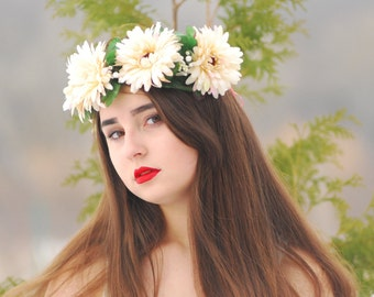 Bridal flower crown Wedding flower crown Flower halo  Flower headband Flower wreath Wedding crown Floral head wreath Boho hair accessories