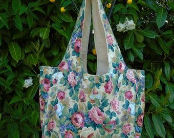 Vintage retro floral rose print tote / beach/ shopping bag