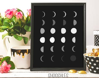 Moonphase, Moon print, Moon Phase Poster, minimalist print, Moon Phase Print, Moon Phase Art, Art Print, Moon Decor,  Moon Phases Wall Art