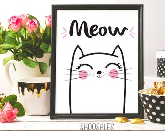 Meow Cat, Cat drawing, Cat print wall decor, Cat print, Cat illustration, Cat printable art, Nursery wall art, Cat wall art, Nursery print