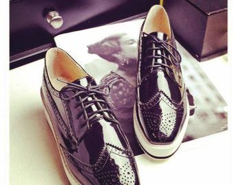 SALE! Size 10 Black Oxford Platform Shoes / Patent Leather Women Shoes