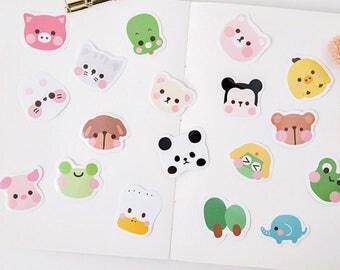 45 Pcs Animal Faces Sticker, Animals Sticker Flakes, Cute Face Filofax Stickers, Scrapbook, Frog Schedule Sticker, Panda, Pig, Chick, Rabbit