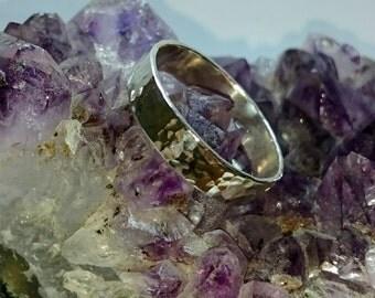 Handmade sterling silver hammered finish ring/ Size V
