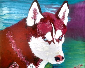Custom Pet Portrait in Acrylic, Hand Painted Dog Portrait on Canvas, Colorful Pet Portrait, Pet Portrait Painting