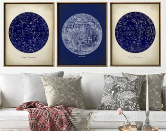 ASTRONOMY Print SET of 3, Astronomy set, Moon chart print, Moon print, stars map, stars print, star chart, constellations, astronomy poster