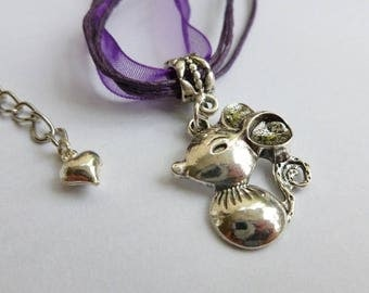 Fancy Mouse Rat Pendant Mouse Necklace Rat Purple Choker