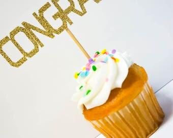 Graduation Decorations / Congrats / Cupcake Toppers / Graduation Cupcake Topper / Cake Topper 2017 / Graduation Party