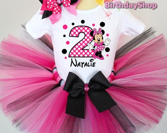 Minnie Mouse Birthday Outfit / 1st, 2nd, 3rd, 4th Birthday Outfit / Black and Hot Pink Minnie tutu / Minnie Tutu Set, Minnie Birthday Set
