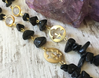 Black Onyx Golden Necklace
